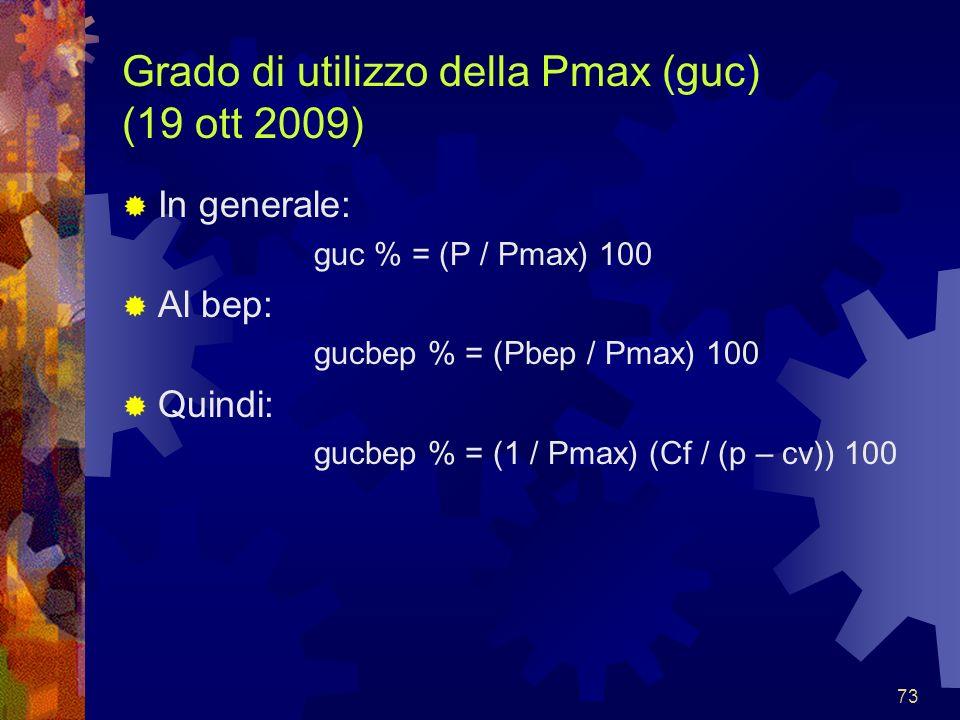 73 Grado di utilizzo della Pmax (guc) (19 ott 2009) In generale: guc % = (P / Pmax) 100 Al bep: gucbep % = (Pbep / Pmax) 100 Quindi: gucbep % = (1 / P