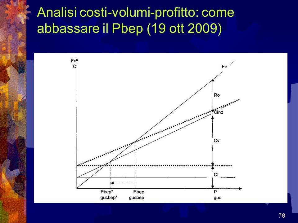 76 Analisi costi-volumi-profitto: come abbassare il Pbep (19 ott 2009)