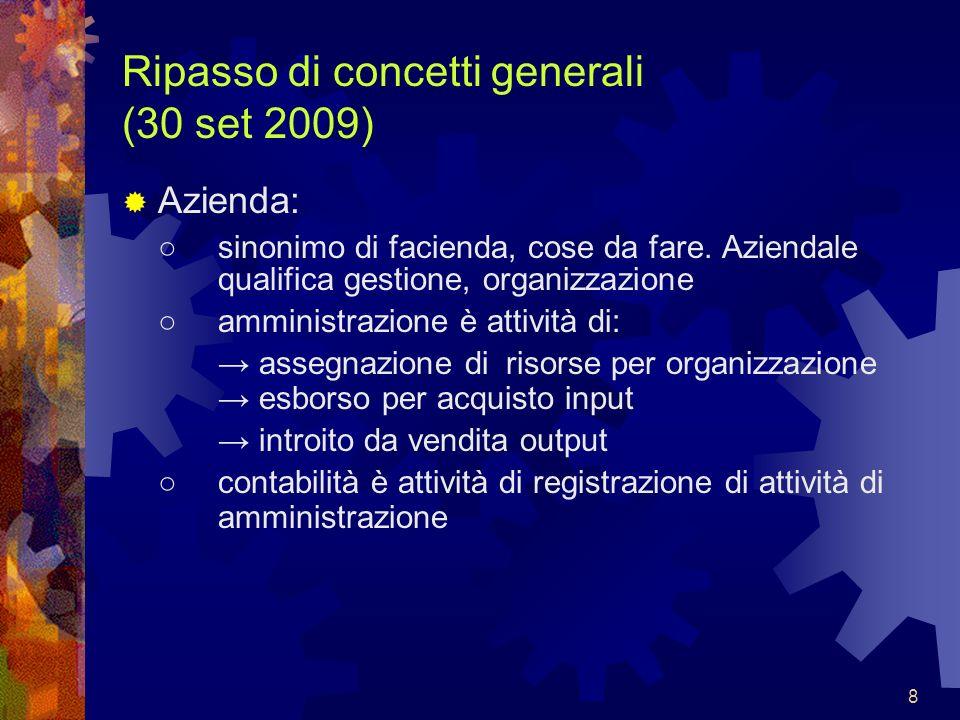 8 Ripasso di concetti generali (30 set 2009) Azienda: sinonimo di facienda, cose da fare. Aziendale qualifica gestione, organizzazione amministrazione