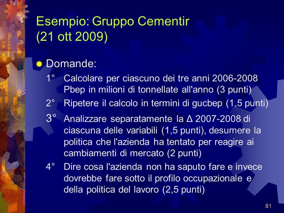 81 Esempio: Gruppo Cementir (21 ott 2009) Domande: 1°Calcolare per ciascuno dei tre anni 2006-2008 Pbep in milioni di tonnellate all'anno (3 punti) 2°