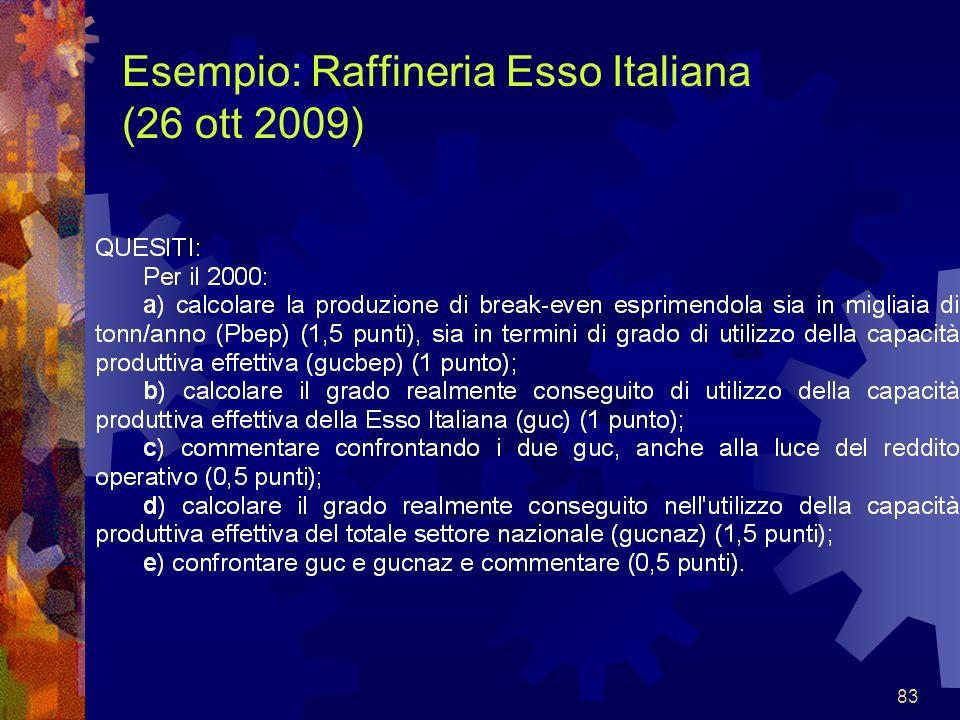 83 Esempio: Raffineria Esso Italiana (26 ott 2009)