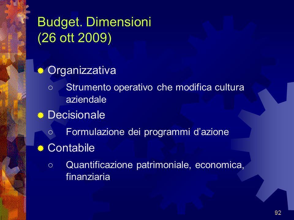 92 Budget. Dimensioni (26 ott 2009) Organizzativa Strumento operativo che modifica cultura aziendale Decisionale Formulazione dei programmi dazione Co