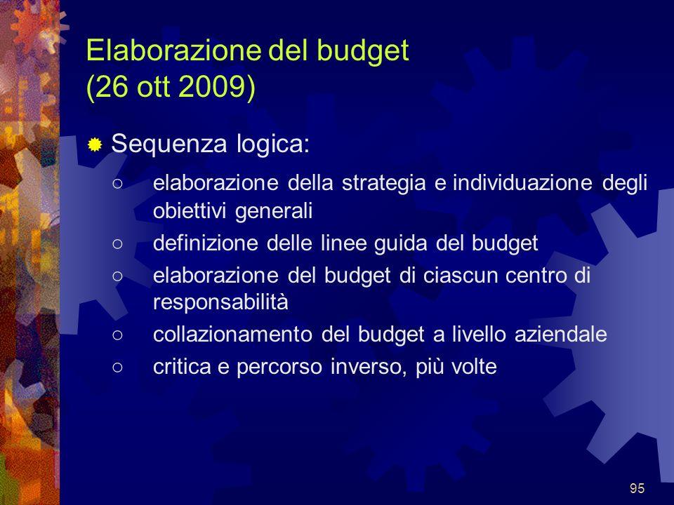 95 Elaborazione del budget (26 ott 2009) Sequenza logica: elaborazione della strategia e individuazione degli obiettivi generali definizione delle lin