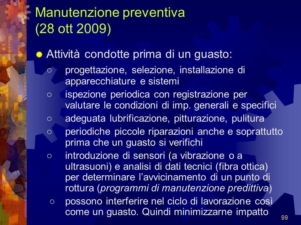 99 Manutenzione preventiva (28 ott 2009) Attività condotte prima di un guasto: progettazione, selezione, installazione di apparecchiature e sistemi is