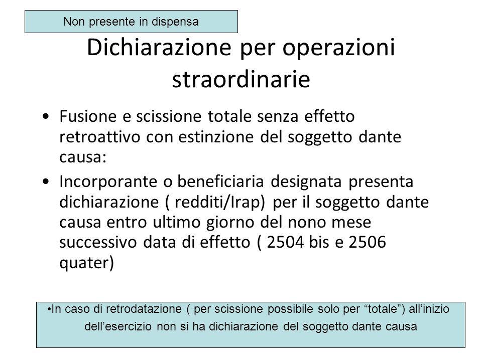Dichiarazione per operazioni straordinarie Fusione e scissione totale senza effetto retroattivo con estinzione del soggetto dante causa: Incorporante
