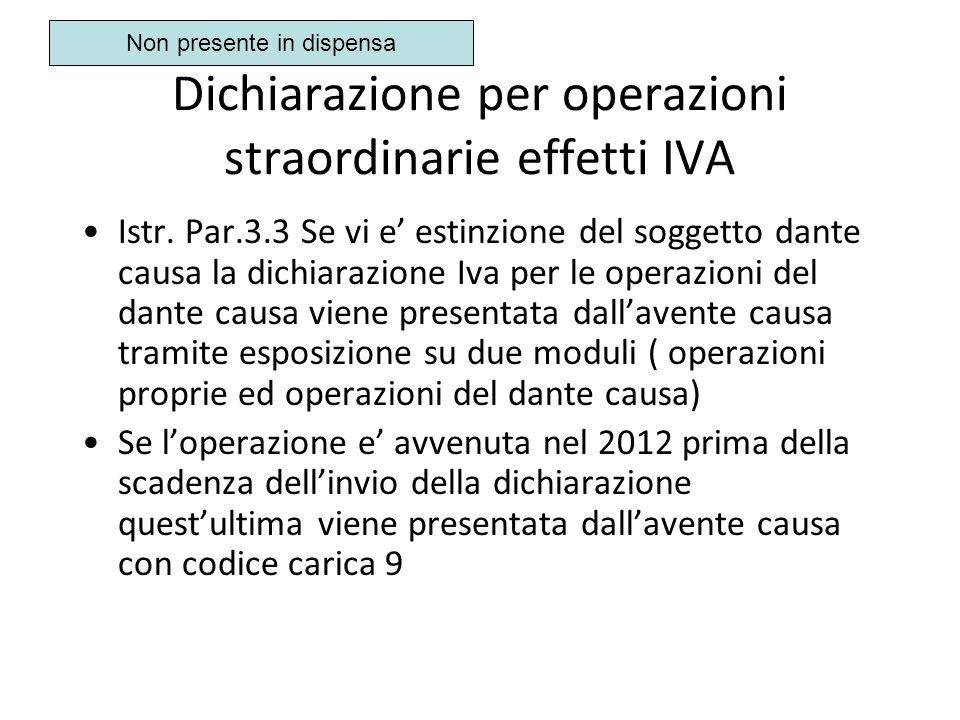 Dichiarazione per operazioni straordinarie effetti IVA Istr. Par.3.3 Se vi e estinzione del soggetto dante causa la dichiarazione Iva per le operazion