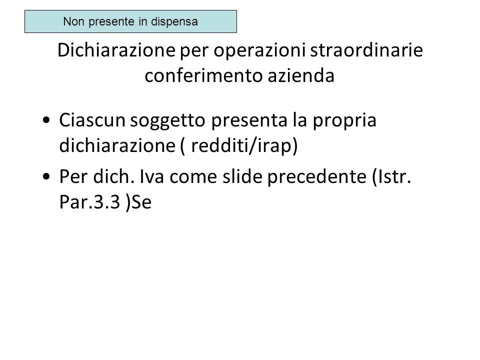 Dichiarazione per operazioni straordinarie conferimento azienda Ciascun soggetto presenta la propria dichiarazione ( redditi/irap) Per dich. Iva come