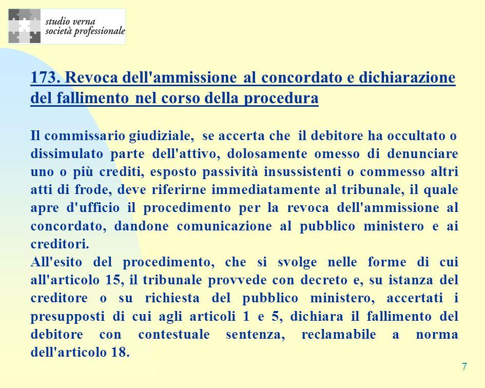7 173. Revoca dell'ammissione al concordato e dichiarazione del fallimento nel corso della procedura Il commissario giudiziale, se accerta che il debi