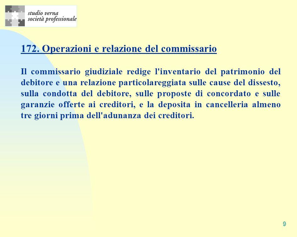 9 172. Operazioni e relazione del commissario Il commissario giudiziale redige l'inventario del patrimonio del debitore e una relazione particolareggi