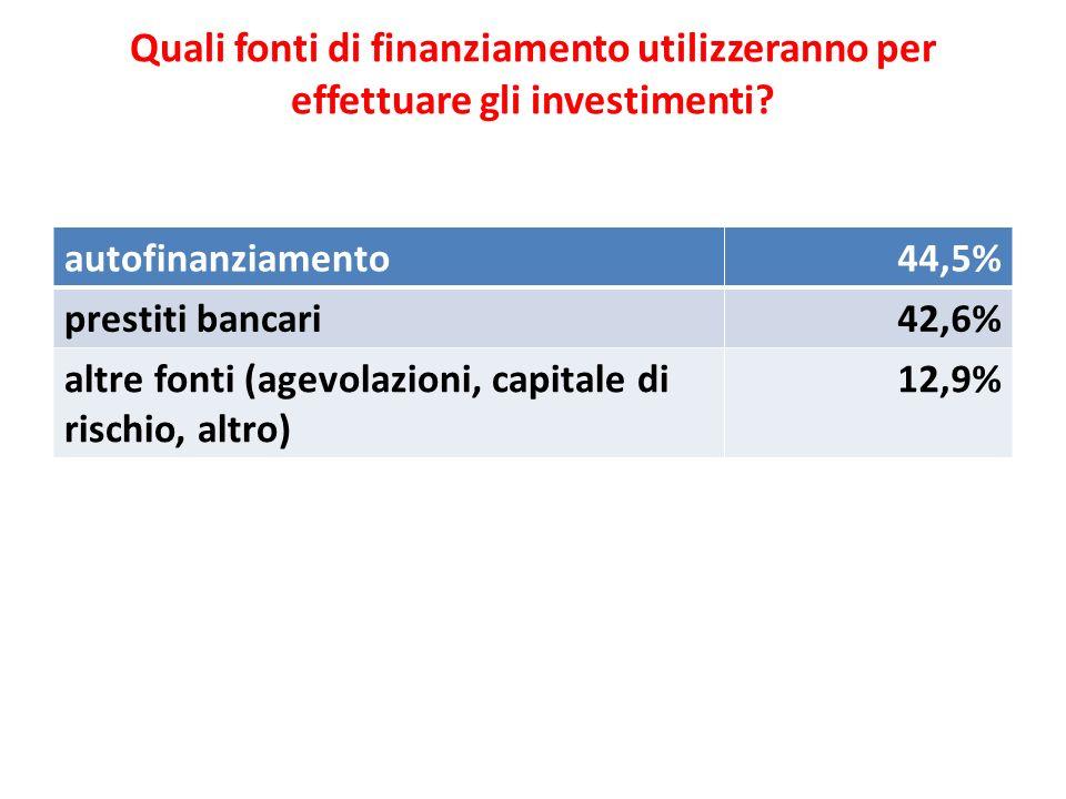 Quali fonti di finanziamento utilizzeranno per effettuare gli investimenti? autofinanziamento44,5% prestiti bancari42,6% altre fonti (agevolazioni, ca
