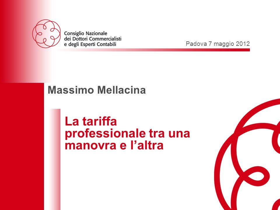 Padova 7 maggio 2012 – Le professioni tra una manovra e laltra 1 Padova 7 maggio 2012 Massimo Mellacina La tariffa professionale tra una manovra e laltra