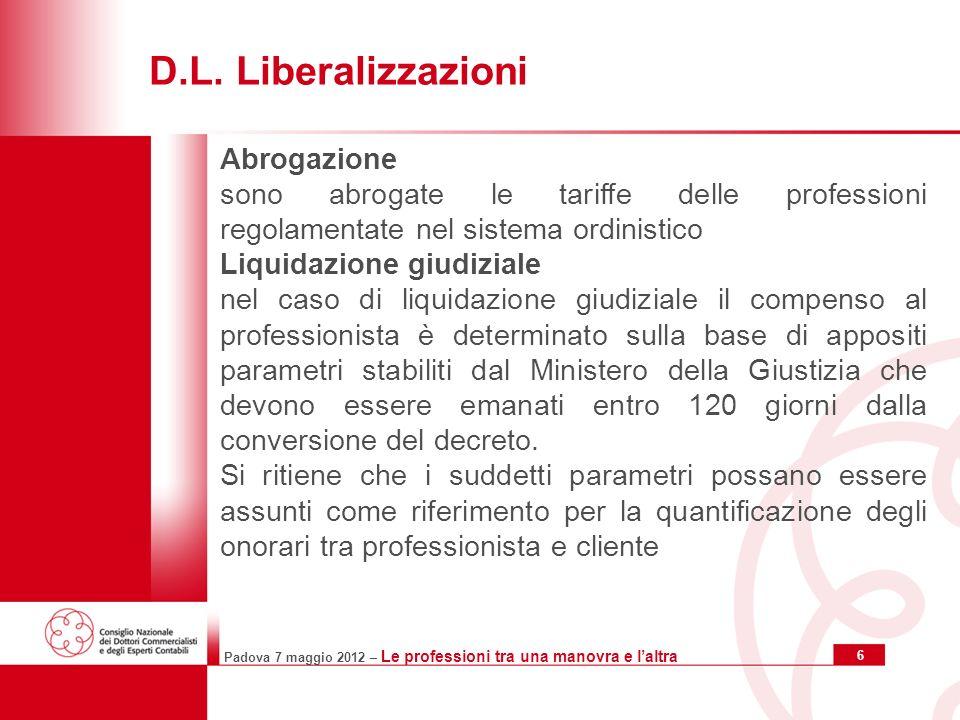 Padova 7 maggio 2012 – Le professioni tra una manovra e laltra 6 D.L.