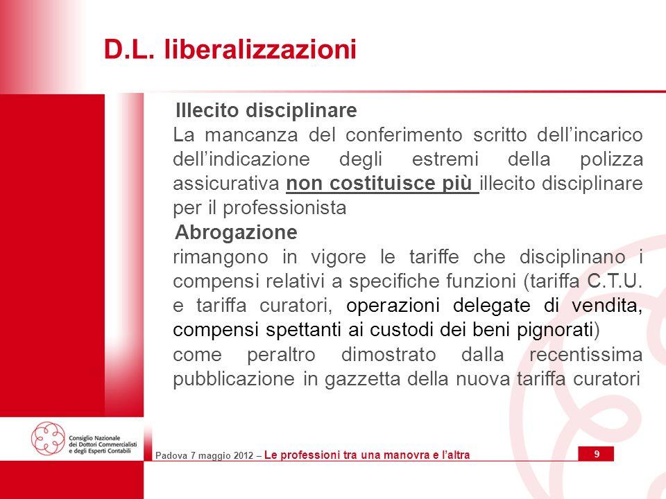 Padova 7 maggio 2012 – Le professioni tra una manovra e laltra 10 D.L.