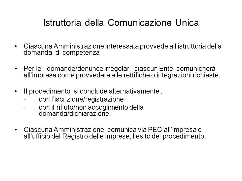 Istruttoria della Comunicazione Unica Ciascuna Amministrazione interessata provvede allistruttoria della domanda di competenza Per le domande/denunce irregolari ciascun Ente comunicherà allimpresa come provvedere alle rettifiche o integrazioni richieste.