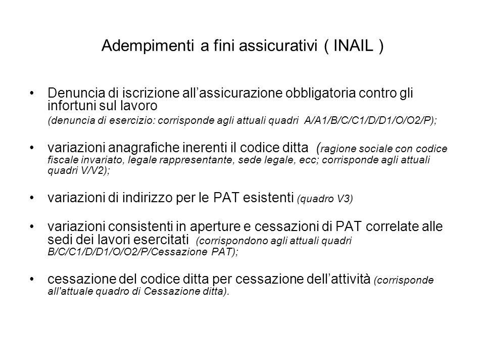 Adempimenti a fini assicurativi ( INAIL ) Denuncia di iscrizione allassicurazione obbligatoria contro gli infortuni sul lavoro (denuncia di esercizio: corrisponde agli attuali quadri A/A1/B/C/C1/D/D1/O/O2/P); variazioni anagrafiche inerenti il codice ditta ( ragione sociale con codice fiscale invariato, legale rappresentante, sede legale, ecc; corrisponde agli attuali quadri V/V2); variazioni di indirizzo per le PAT esistenti (quadro V3) variazioni consistenti in aperture e cessazioni di PAT correlate alle sedi dei lavori esercitati (corrispondono agli attuali quadri B/C/C1/D/D1/O/O2/P/Cessazione PAT); cessazione del codice ditta per cessazione dellattività (corrisponde all attuale quadro di Cessazione ditta).