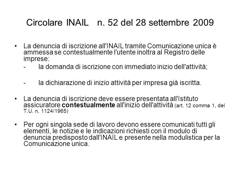 Circolare INAIL n.
