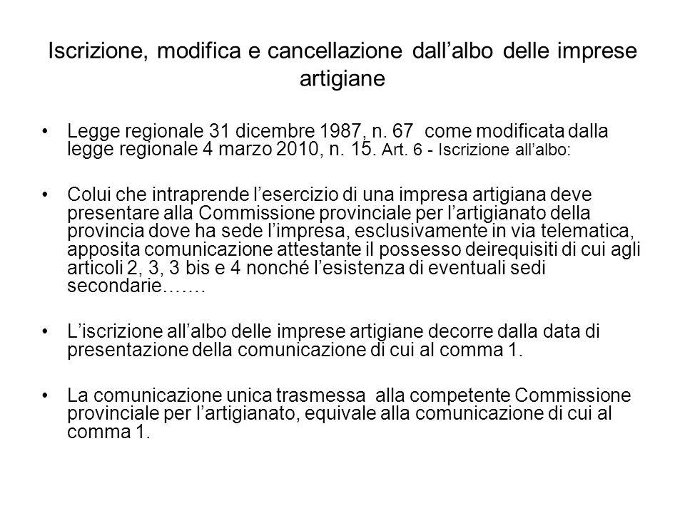 Iscrizione, modifica e cancellazione dallalbo delle imprese artigiane Legge regionale 31 dicembre 1987, n.