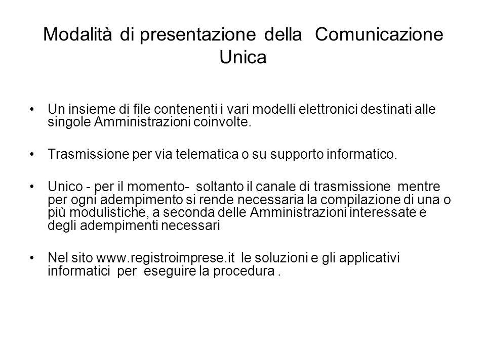 Modalità di presentazione della Comunicazione Unica Un insieme di file contenenti i vari modelli elettronici destinati alle singole Amministrazioni coinvolte.