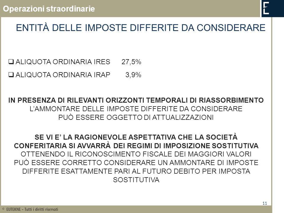 11 ENTITÀ DELLE IMPOSTE DIFFERITE DA CONSIDERARE ALIQUOTA ORDINARIA IRES27,5% ALIQUOTA ORDINARIA IRAP 3,9% IN PRESENZA DI RILEVANTI ORIZZONTI TEMPORAL