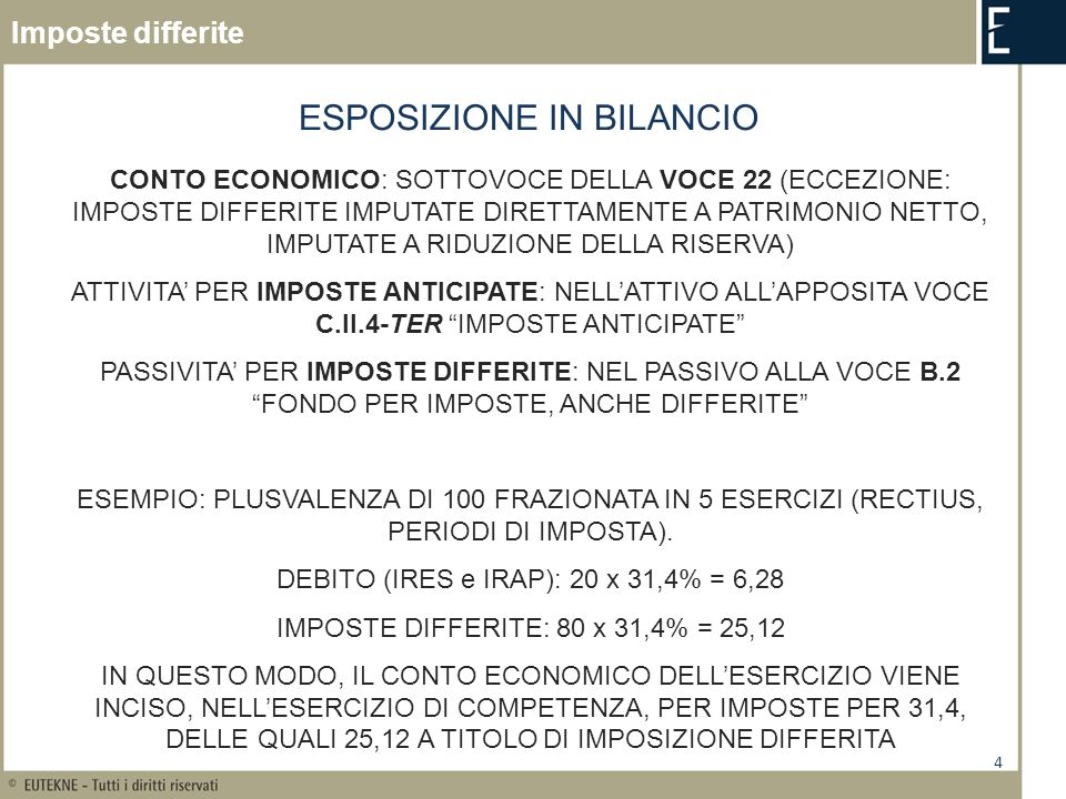 4 ESPOSIZIONE IN BILANCIO CONTO ECONOMICO: SOTTOVOCE DELLA VOCE 22 (ECCEZIONE: IMPOSTE DIFFERITE IMPUTATE DIRETTAMENTE A PATRIMONIO NETTO, IMPUTATE A