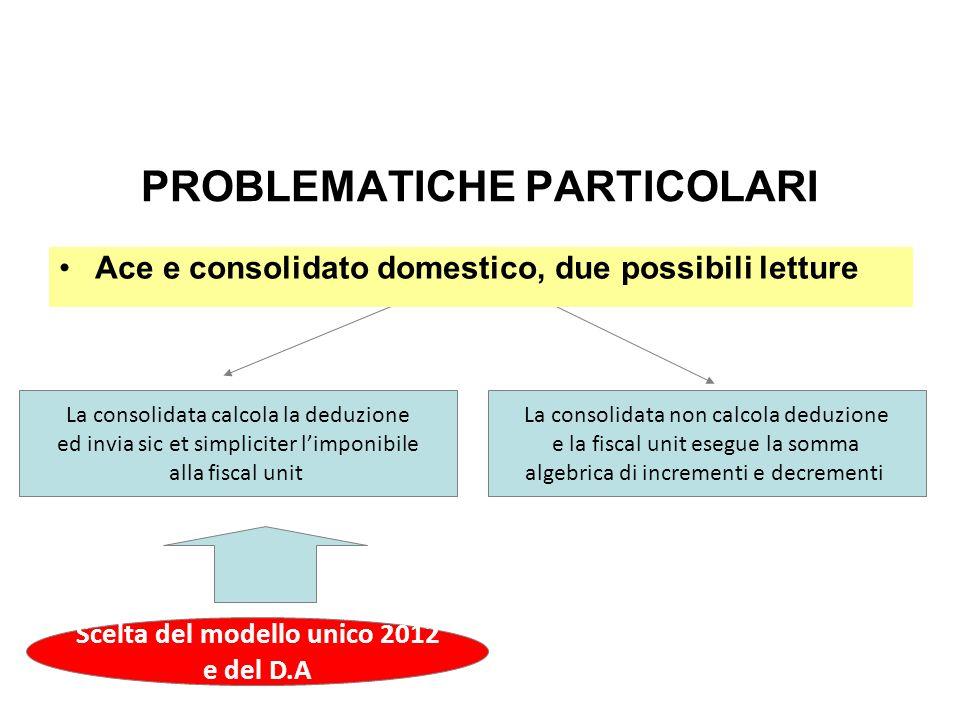 PROBLEMATICHE PARTICOLARI La consolidata calcola la deduzione ed invia sic et simpliciter limponibile alla fiscal unit La consolidata non calcola dedu