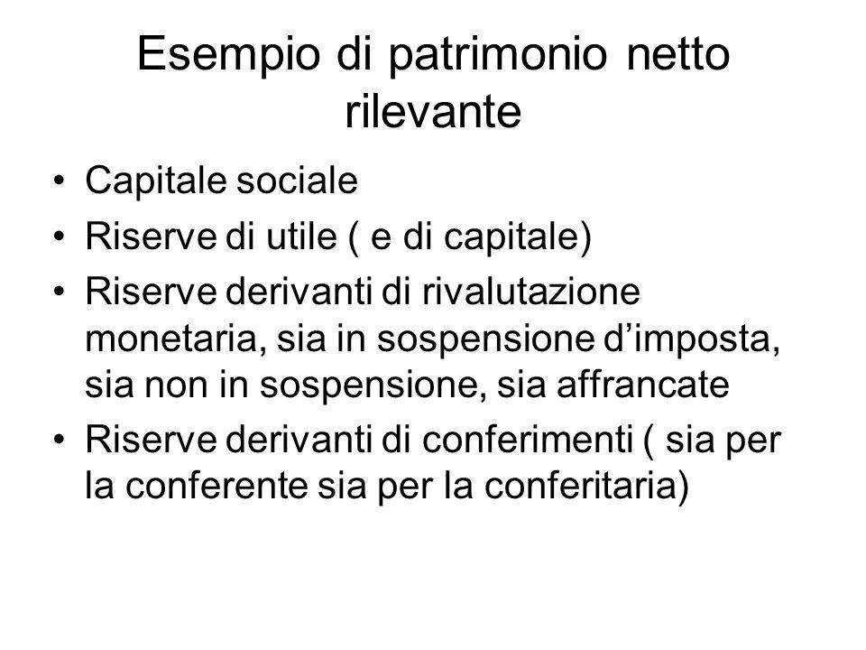 Esempio di patrimonio netto rilevante Capitale sociale Riserve di utile ( e di capitale) Riserve derivanti di rivalutazione monetaria, sia in sospensi