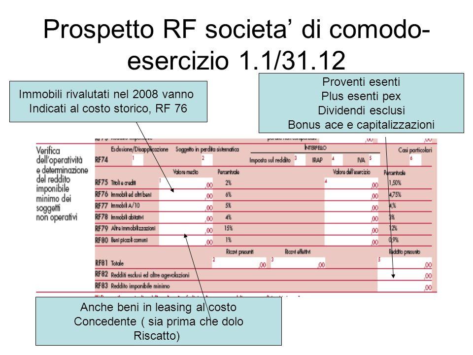 Prospetto RF societa di comodo- esercizio 1.1/31.12 Immobili rivalutati nel 2008 vanno Indicati al costo storico, RF 76 Anche beni in leasing al costo