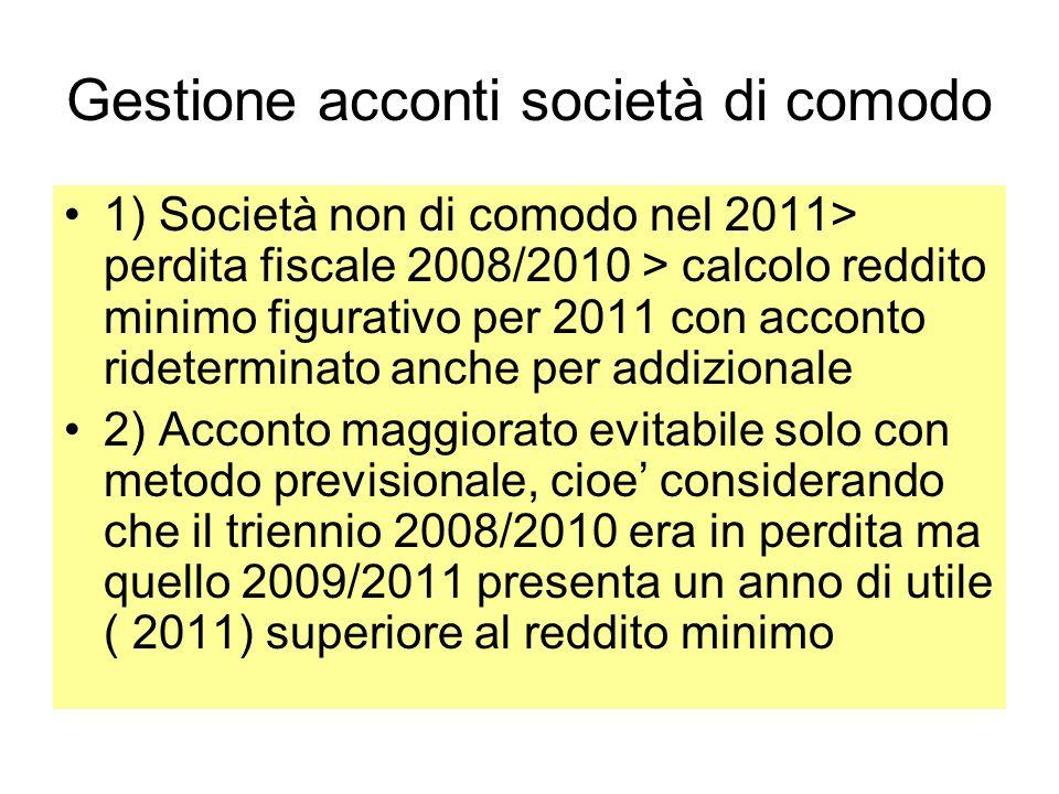 Gestione acconti società di comodo 1) Società non di comodo nel 2011> perdita fiscale 2008/2010 > calcolo reddito minimo figurativo per 2011 con accon