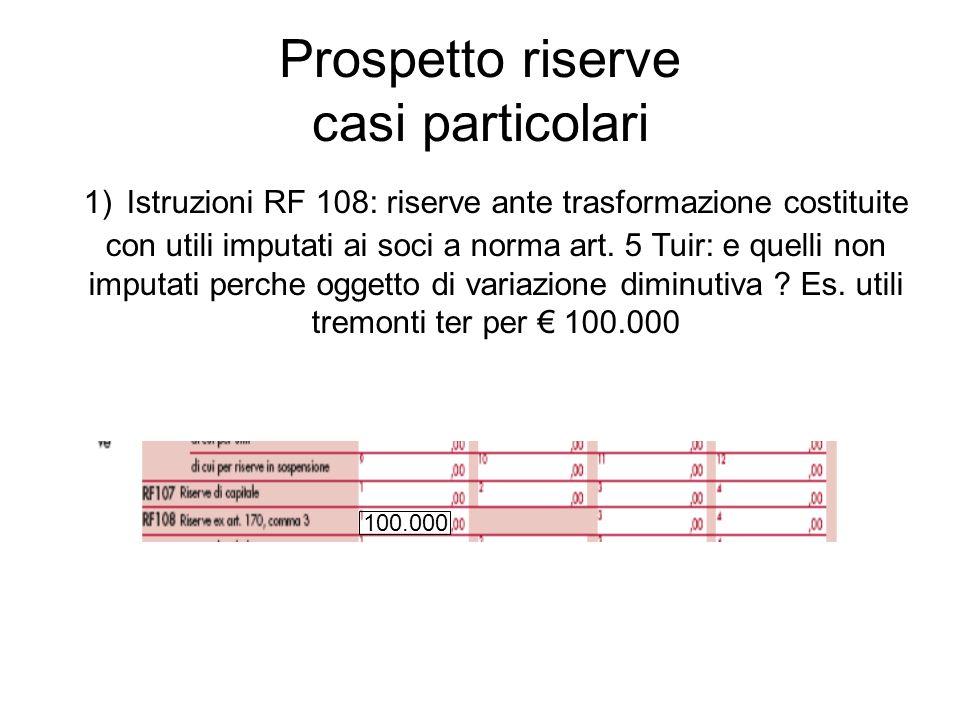 Prospetto riserve casi particolari 1) Istruzioni RF 108: riserve ante trasformazione costituite con utili imputati ai soci a norma art. 5 Tuir: e quel