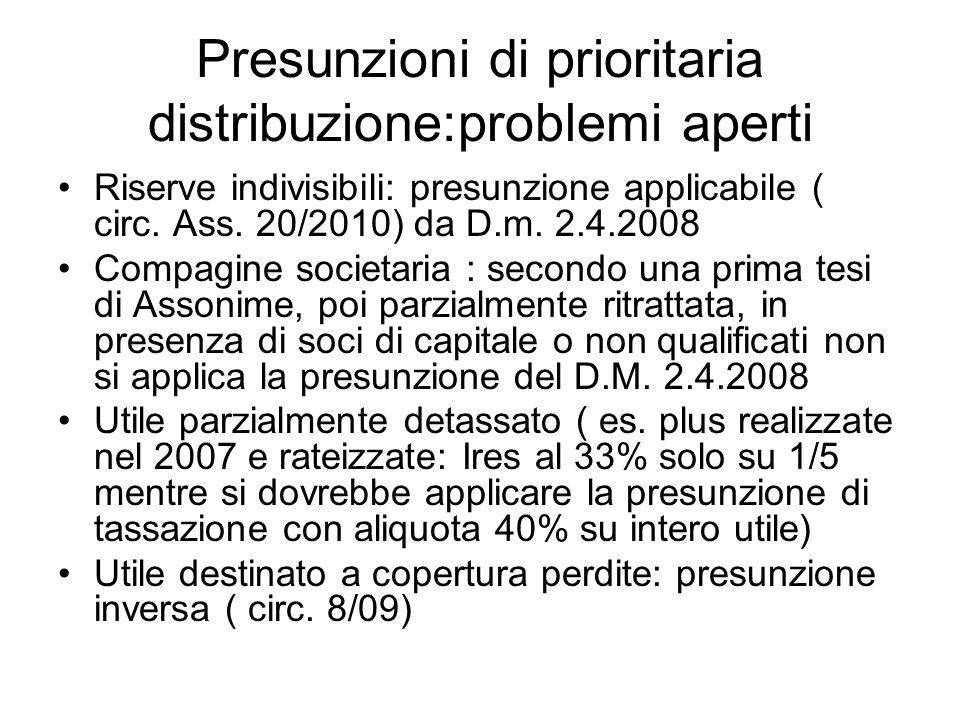 Presunzioni di prioritaria distribuzione:problemi aperti Riserve indivisibili: presunzione applicabile ( circ. Ass. 20/2010) da D.m. 2.4.2008 Compagin