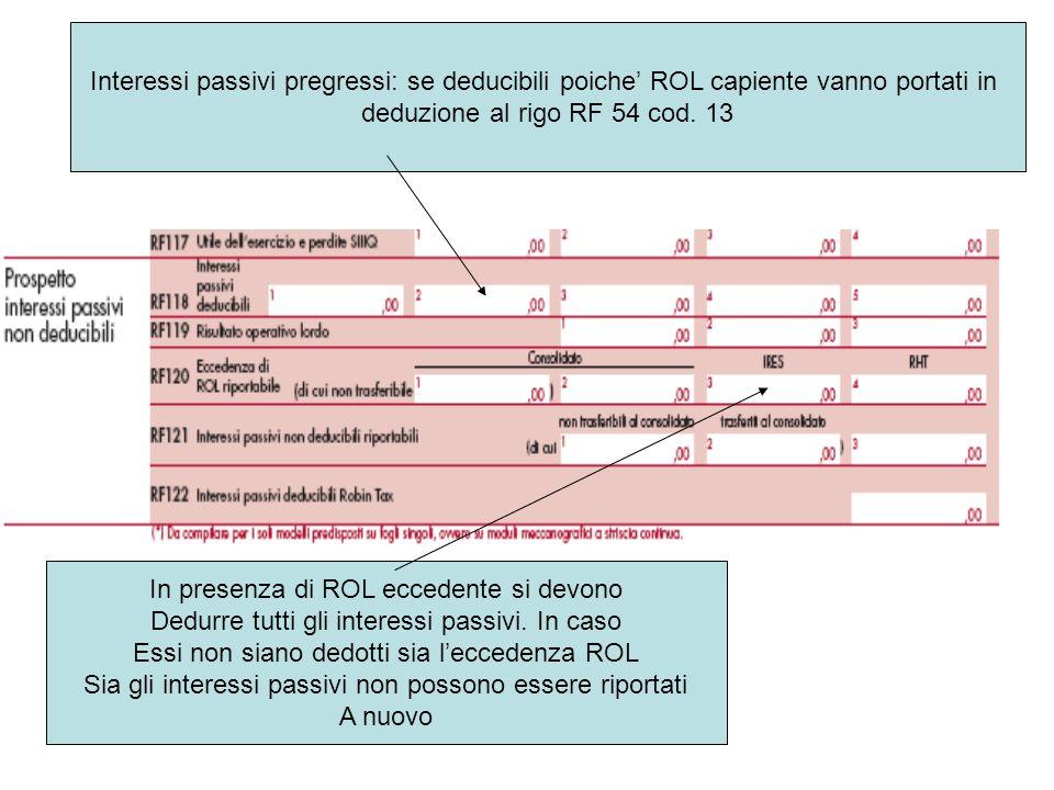 Interessi passivi pregressi: se deducibili poiche ROL capiente vanno portati in deduzione al rigo RF 54 cod. 13 In presenza di ROL eccedente si devono