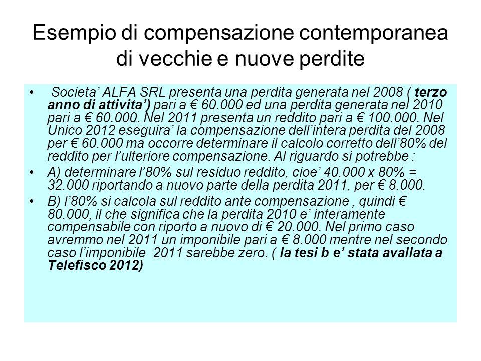 Esempio di compensazione contemporanea di vecchie e nuove perdite Societa ALFA SRL presenta una perdita generata nel 2008 ( terzo anno di attivita) pa