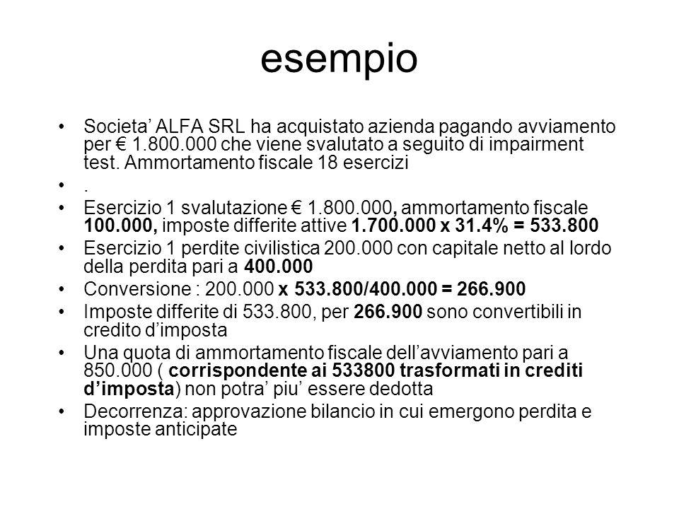 esempio Societa ALFA SRL ha acquistato azienda pagando avviamento per 1.800.000 che viene svalutato a seguito di impairment test. Ammortamento fiscale
