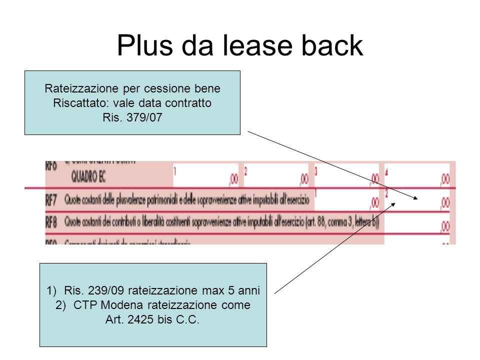 Plus da lease back 1)Ris. 239/09 rateizzazione max 5 anni 2)CTP Modena rateizzazione come Art. 2425 bis C.C. Rateizzazione per cessione bene Riscattat