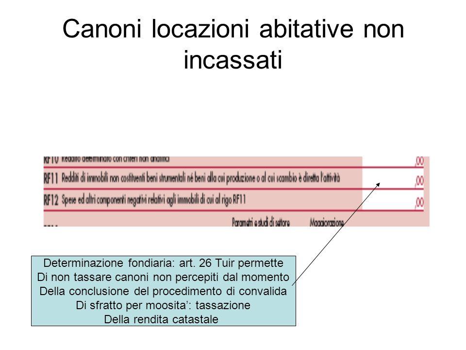 Canoni locazioni abitative non incassati Determinazione fondiaria: art.