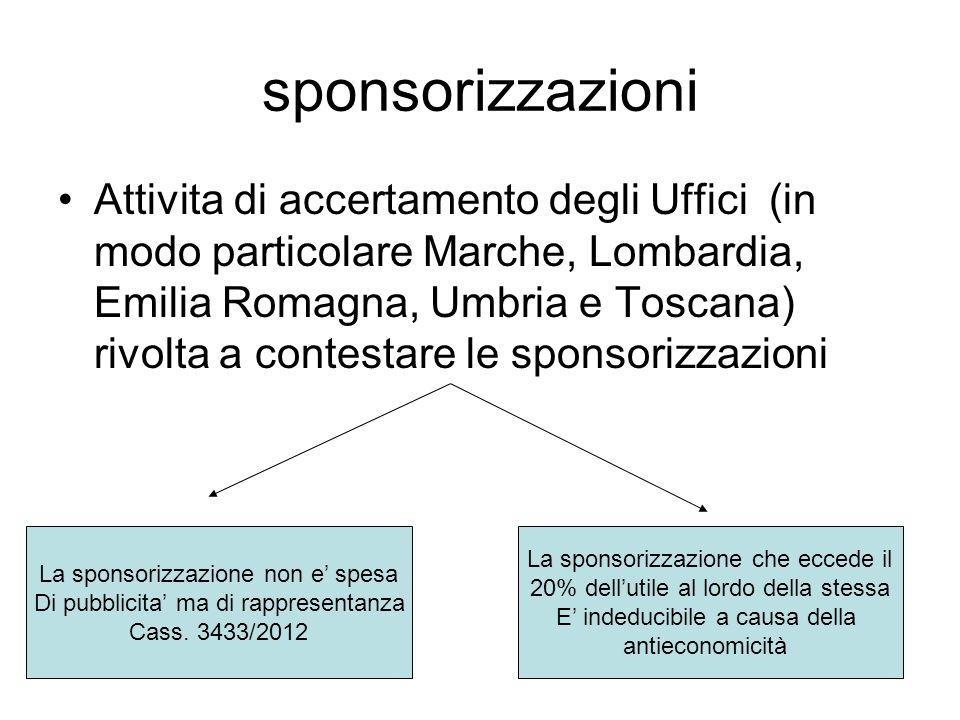sponsorizzazioni Attivita di accertamento degli Uffici (in modo particolare Marche, Lombardia, Emilia Romagna, Umbria e Toscana) rivolta a contestare