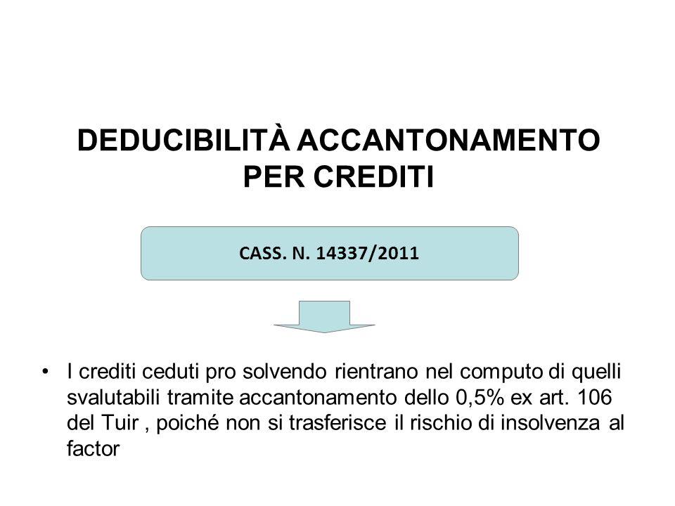DEDUCIBILITÀ ACCANTONAMENTO PER CREDITI I crediti ceduti pro solvendo rientrano nel computo di quelli svalutabili tramite accantonamento dello 0,5% ex art.