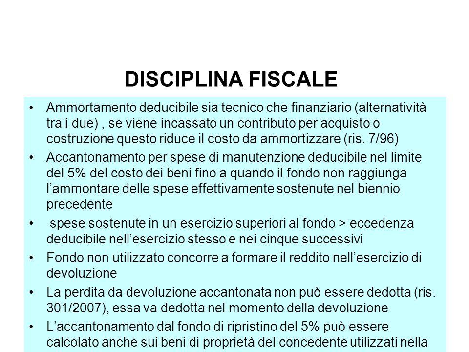 DISCIPLINA FISCALE Ammortamento deducibile sia tecnico che finanziario (alternatività tra i due), se viene incassato un contributo per acquisto o cost