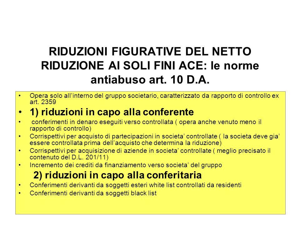 RIDUZIONI FIGURATIVE DEL NETTO RIDUZIONE AI SOLI FINI ACE: le norme antiabuso art.