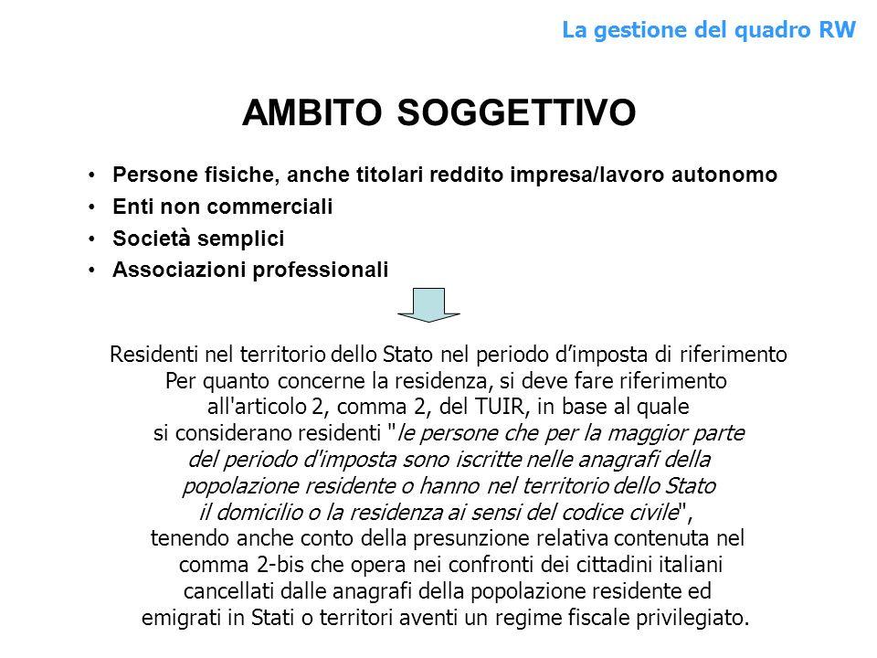 AMBITO SOGGETTIVO Persone fisiche, anche titolari reddito impresa/lavoro autonomo Enti non commerciali Societ à semplici Associazioni professionali Re