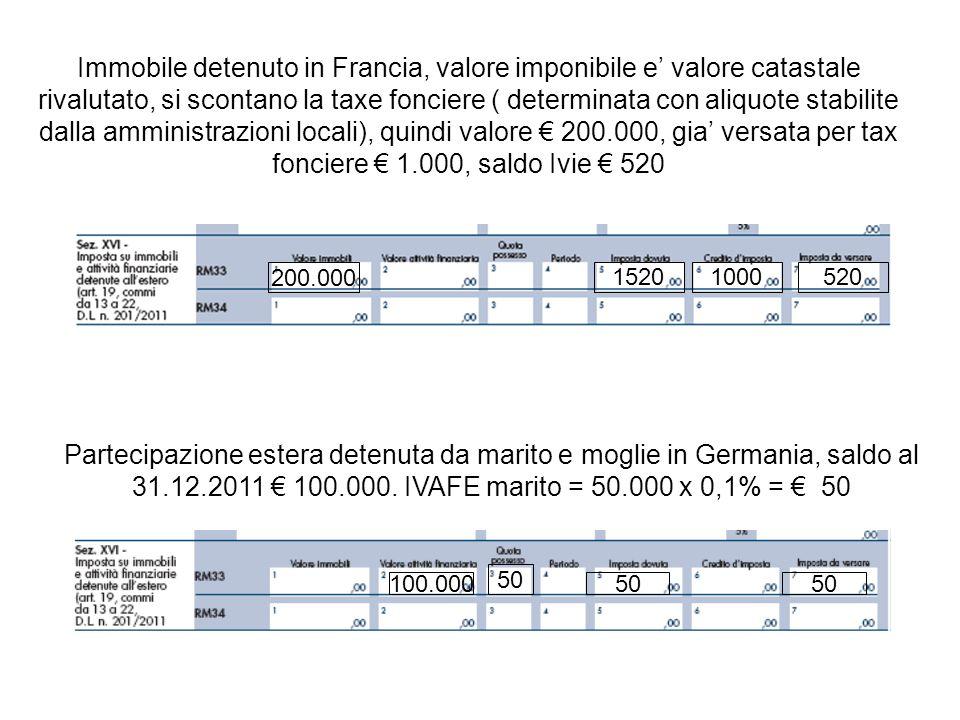 Immobile detenuto in Francia, valore imponibile e valore catastale rivalutato, si scontano la taxe fonciere ( determinata con aliquote stabilite dalla