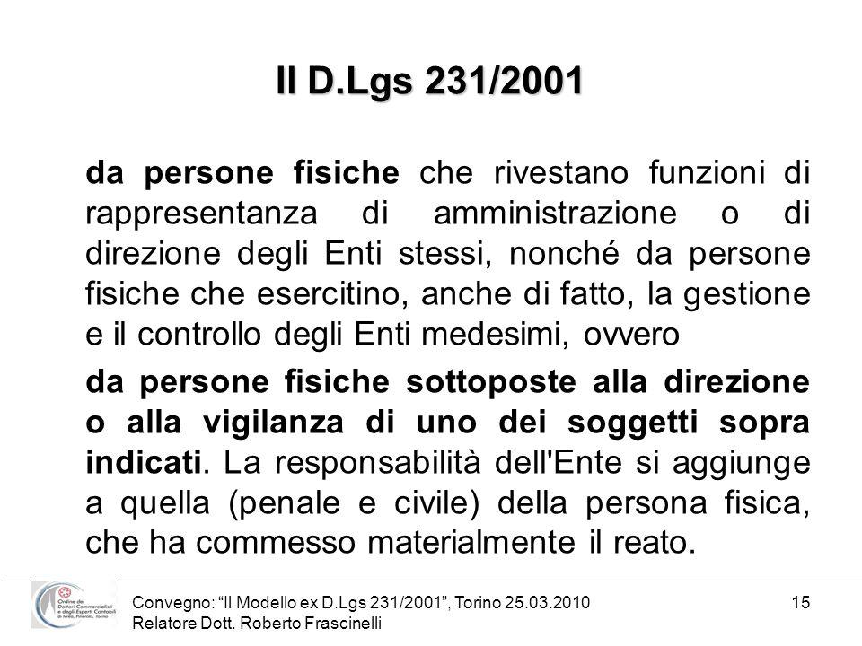 Convegno: Il Modello ex D.Lgs 231/2001, Torino 25.03.2010 Relatore Dott. Roberto Frascinelli 15 Il D.Lgs 231/2001 da persone fisiche che rivestano fun