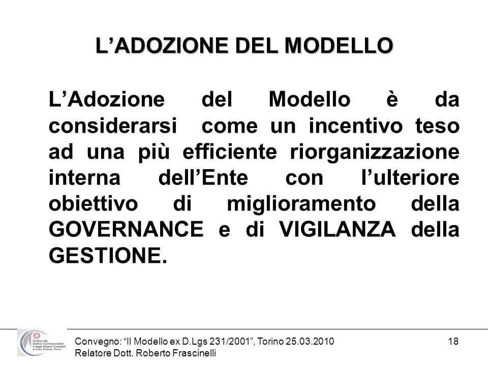 Convegno: Il Modello ex D.Lgs 231/2001, Torino 25.03.2010 Relatore Dott. Roberto Frascinelli 18 LADOZIONE DEL MODELLO LAdozione del Modello è da consi