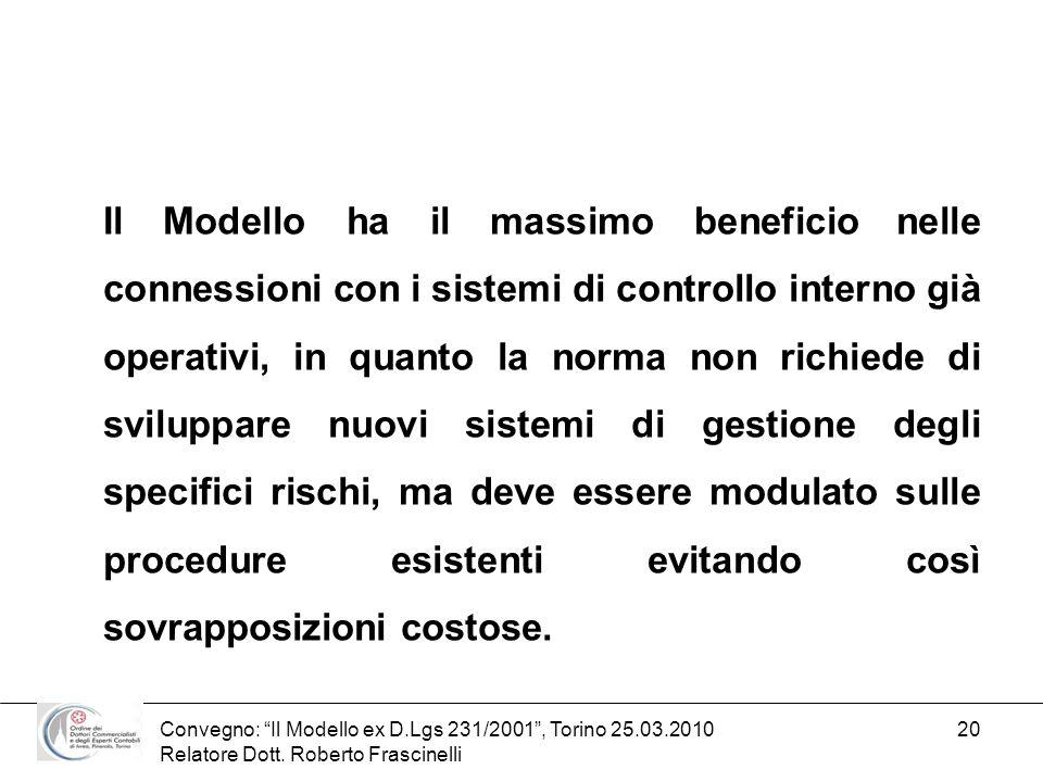 Convegno: Il Modello ex D.Lgs 231/2001, Torino 25.03.2010 Relatore Dott. Roberto Frascinelli 20 Il Modello ha il massimo beneficio nelle connessioni c