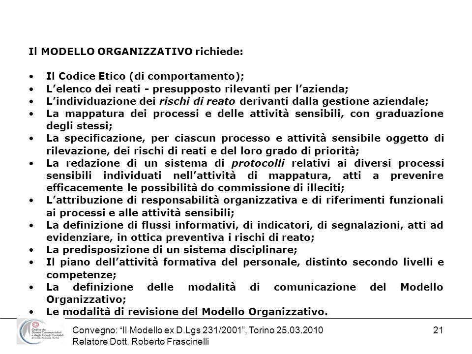 Convegno: Il Modello ex D.Lgs 231/2001, Torino 25.03.2010 Relatore Dott. Roberto Frascinelli 21 Il MODELLO ORGANIZZATIVO richiede: Il Codice Etico (di