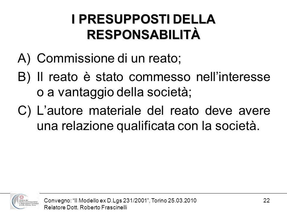 Convegno: Il Modello ex D.Lgs 231/2001, Torino 25.03.2010 Relatore Dott. Roberto Frascinelli 22 I PRESUPPOSTI DELLA RESPONSABILITÀ A)Commissione di un