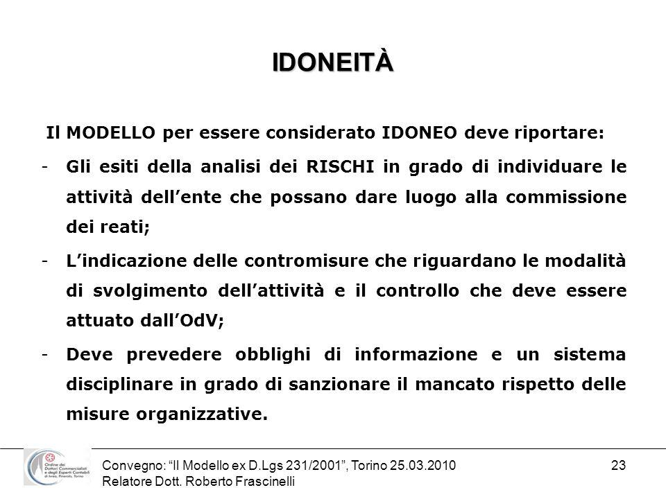 Convegno: Il Modello ex D.Lgs 231/2001, Torino 25.03.2010 Relatore Dott. Roberto Frascinelli 23 IDONEITÀ Il MODELLO per essere considerato IDONEO deve
