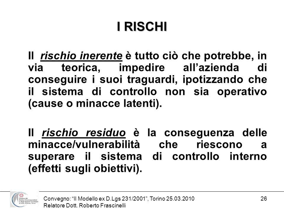Convegno: Il Modello ex D.Lgs 231/2001, Torino 25.03.2010 Relatore Dott. Roberto Frascinelli 26 I RISCHI Il rischio inerente è tutto ciò che potrebbe,