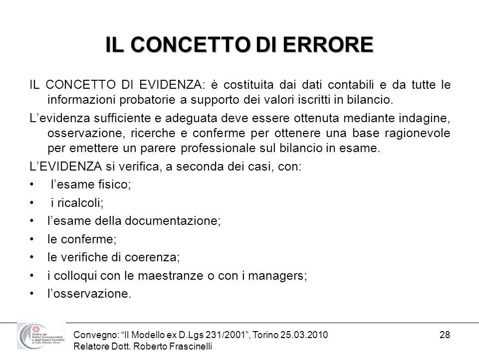 Convegno: Il Modello ex D.Lgs 231/2001, Torino 25.03.2010 Relatore Dott. Roberto Frascinelli 28 IL CONCETTO DI ERRORE IL CONCETTO DI EVIDENZA: è costi