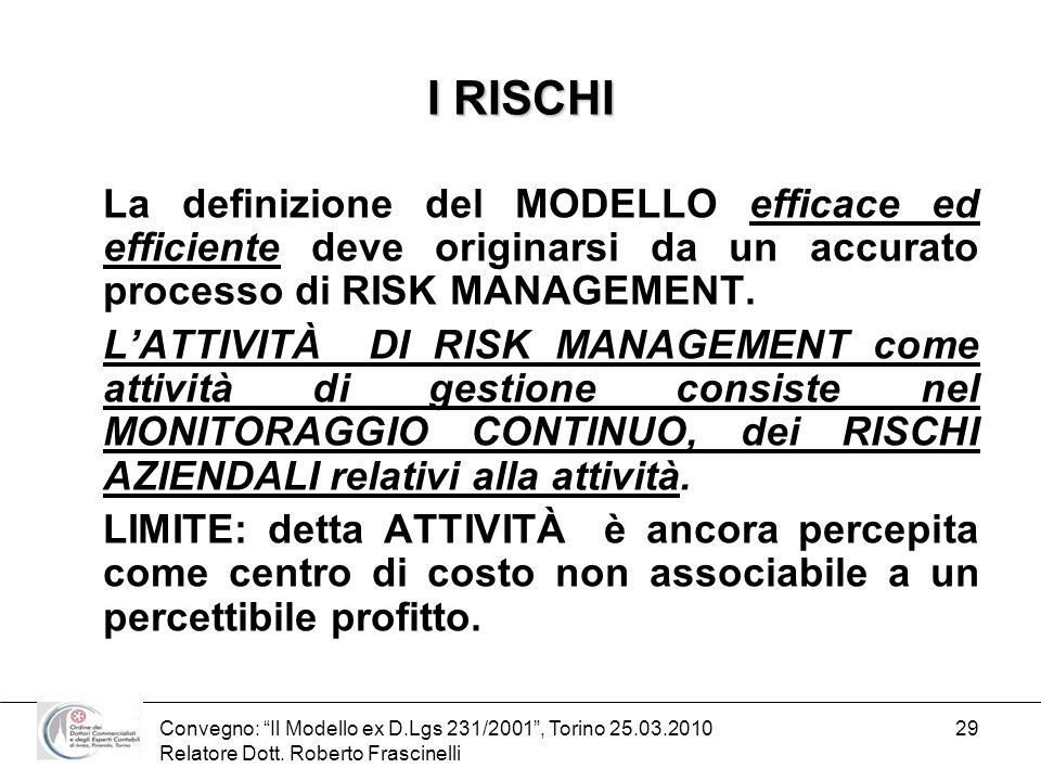 Convegno: Il Modello ex D.Lgs 231/2001, Torino 25.03.2010 Relatore Dott. Roberto Frascinelli 29 I RISCHI La definizione del MODELLO efficace ed effici